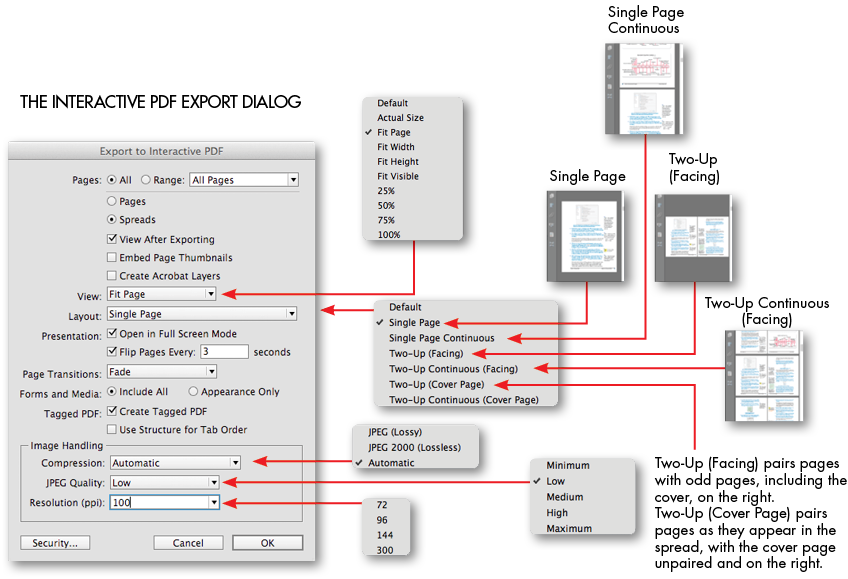 Interactive PDF Export dialog options