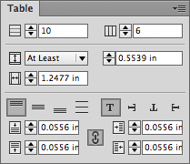 InDesign's Table panel