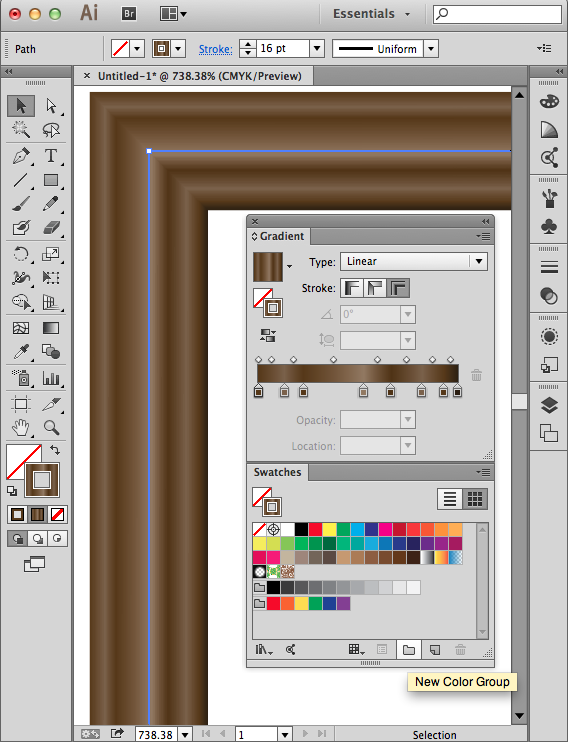 A picture frame made of a gradient stroke, the Gradient panel and the Swatches panel.