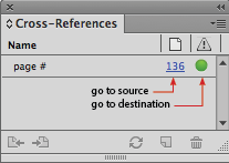 The page number hyperlink links to the cross-reference source and the green dot links to the cross-reference destination